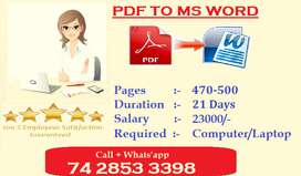 Home Typing Jobs ( PDF TO MS WORD ) Apply Now