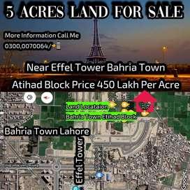 5 Acre 40 Kinal Private Land Very Close To Bahria Town Effel Tower