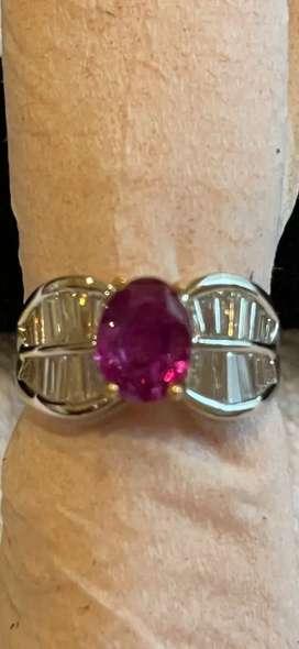 Cincin Ruby pink ring emas 22K + full berlian eropa
