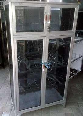 Rak Piring Aluminium 4 Pintu Frame Putih Kaca Riben 30% 74-137