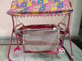 Baby Swing Cradle-Transportable with Mosquito Net-for Boy&Girls(Pink)
