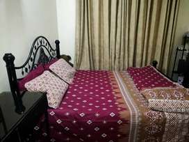King size iron bed for sale with dressing table, side tables