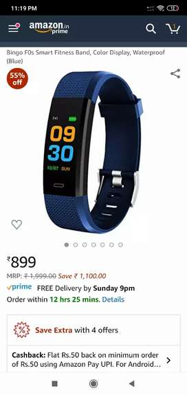 Bingo f0s smart fitness band with heart monitoring