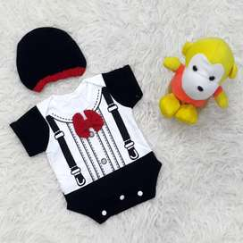 Baju Jumper Suspender Dasi Bayi Laki-Laki Set Topi Lucu