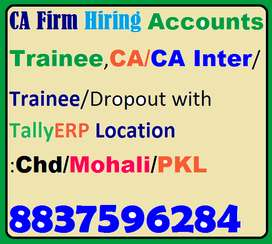 CA Firm Hiring Accounts Trainee,C A ,CA Inter/Trainee/Dropout,Candidat