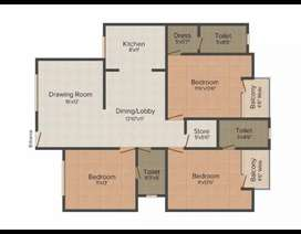 3 bhk spacious flat  at Gardenia Society ,Near Sikandra Agra