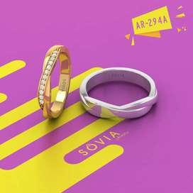 Cincin kawin tunangan couple perak bisa ukir nama dan gratis kotak
