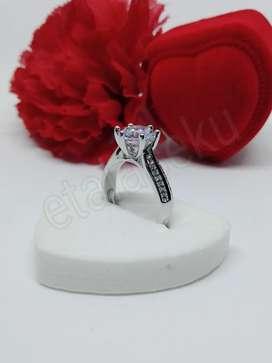 Cincin wanita silver Two row diamond moissanite flower