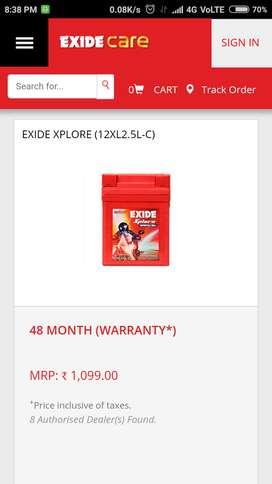 Brand new exide 2.5 battery