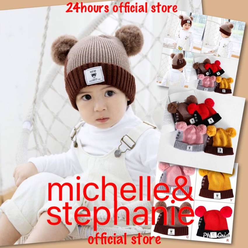 M&S ICTK20-Kids Boy Girl Warm Hat Children Letter Print Knitted Cap