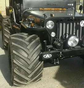 Willys black jeep wide tyres