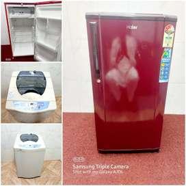 Haier single door maroon color star rating with samsang washingmachine