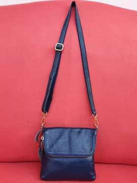 Tas import eks fashion navy sling mini lipat kulit asli tebal lentur