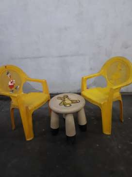 A set of 2 chair and 1 small table for very small kids