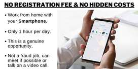 1 HOUR PER DAY WORK FROM HOME WITH YOUR SMARTPHONE [No hidden fee]