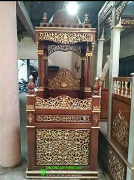 Mimbar podium masjid ukir Jepara mewah