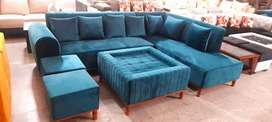 Sofa Set lates Greeen Colour with Center table and 2 puffy with wooden