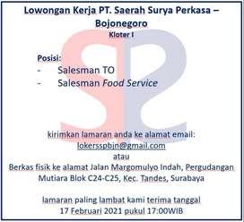 Lowongan Kerja Bojonegoro Salesman TO & Salesman Food Service