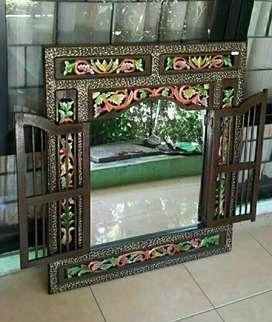 Cermin Krepyak Gapura Jawa Klasik Jati Jepara