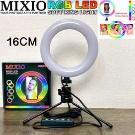 Mixio Ring Light Rainbow RGB 16CM Tripod Besi Led TikTok Streaming