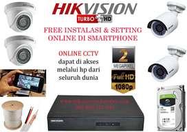 Paket CCTV FULL HD Online HIKVISION 4 Camera + pemasangan + HDD 500GB