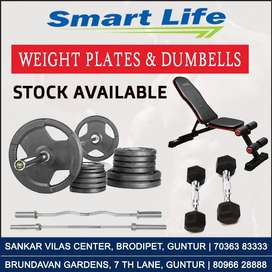 Dumbbells, Weight Plates, Weight Rods, Mats, Bench Stock Available