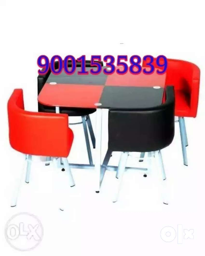 New red blac four seater dining table with chair restaurant furniture 0
