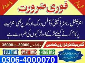 Full time/Part time and Home Based Online job for males,females..