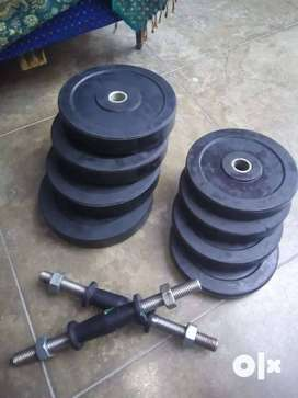 Urgent selling 30 kg Rubber (solid) plates & dumbbell rod at fix 1450