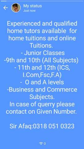 Home tutors Available.