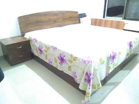 Double Bed, Three door Wardrobe, Bed-side table