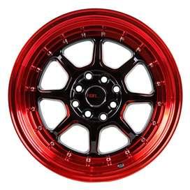 JUAL VELG HSR SC-03 R16X8/9 H8X100-114.3 ET30/25 BK/RED