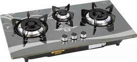 Kitchen hob 3 burner  steel top body and glass top body