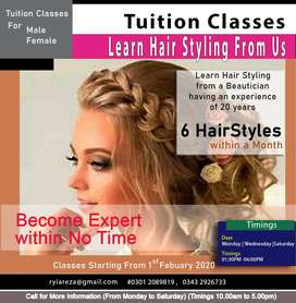 Tuition Classes -Hair styling (Male & Female)
