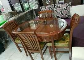 meja makan kayu semi jati meja oval