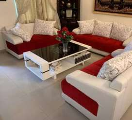 Dining table sofa set double bed and almari