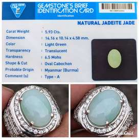 natural jadeite jade burma tipe A ring perak memo ACC lab