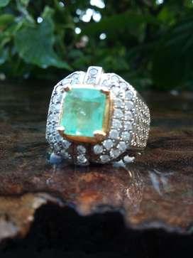 Cincin Batu Natural Emerald / Zamrud Colombia kode 02