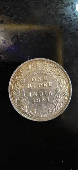 1887 One Rupee Silver coin