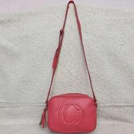 Tas selempang pink kulit asli roomy