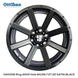JUAL VELG HAVOK R20X9 H6X139,7 ET20 SATIN BLACK,pajero,lc.hilux
