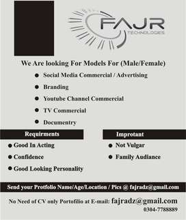 Models Actor Required Male / Female