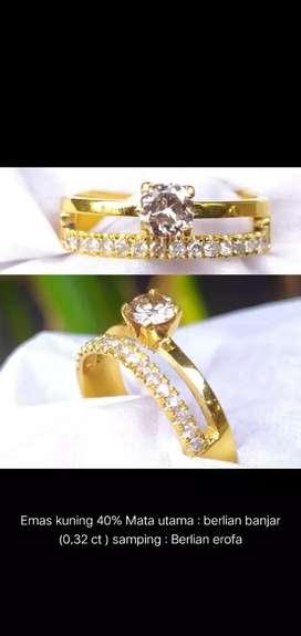 Cincin emas berlian banjar + eropa