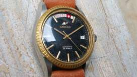 Ori 70s Enicar President Day Date black snowflake dial Very Good Cond