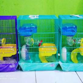 Kandang Hamster 3 tingkat Besar Full maianan + Hamster 2ekor