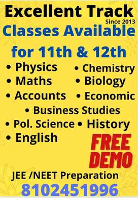 Tuition Classes for 11th &12th (Physics,Chemistry, Math, Accounts,  &.