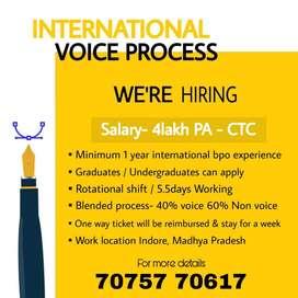 Urgent hiring for international voice Process