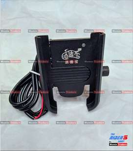 MOBILE PHONE HOLDER WITH USB CHARGER CNC ALUMINUM FOR MOTORBIKE