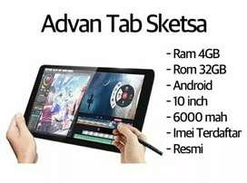 Murah new tab Advan sketsa 10in ram 4gb, bs kredit/bs tt
