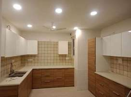 Three bhk flat with four wahroom With light fan cupboard ,chimney and